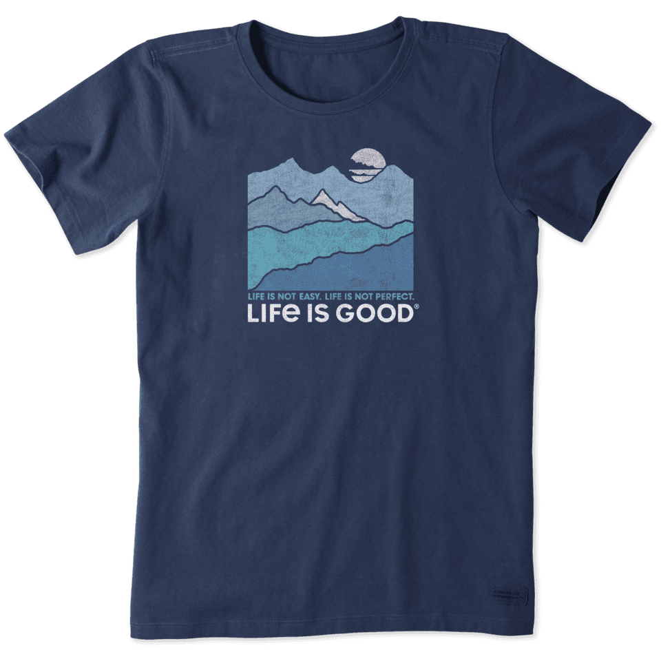 Life is Good Women's Life Isn't Easy Mountains Crusher Tee XL Darkest Blue