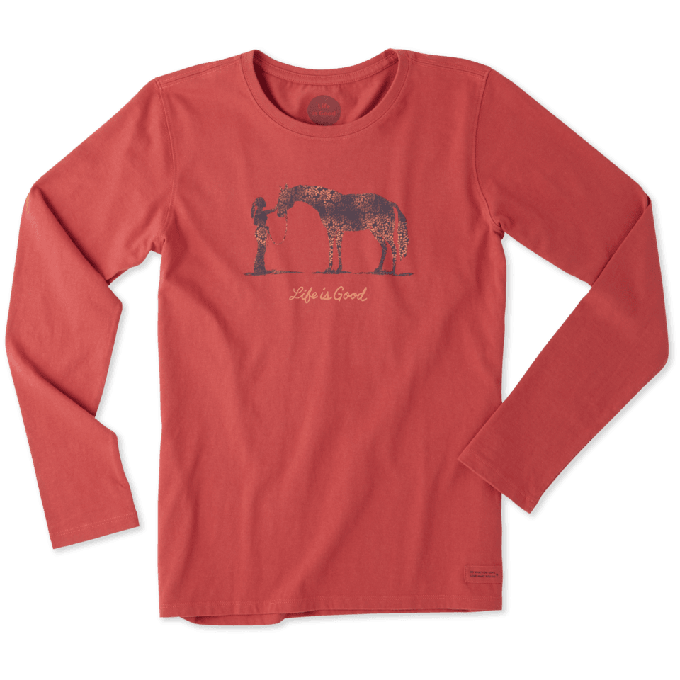 Women's Life is Good Horse Long Sleeve Crusher Tee
