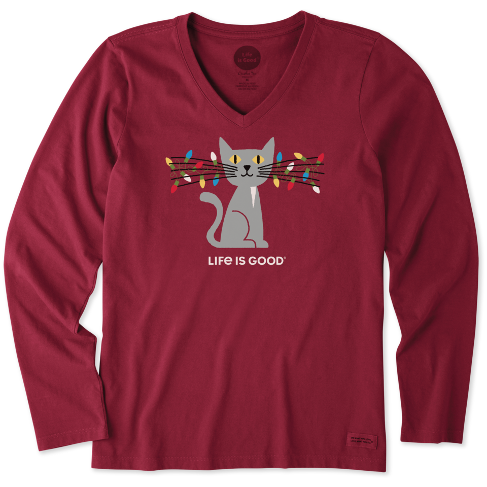 Life is Good Women's Lit Up Cat Long Sleeve Crusher Vee XL Cranberry Red