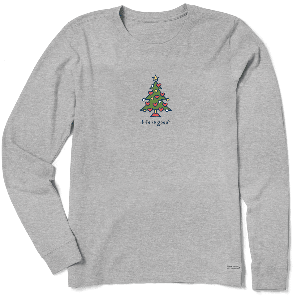 Life is Good Women's Love Christmas Long Sleeve Vintage Crusher Tee S Heather Gray