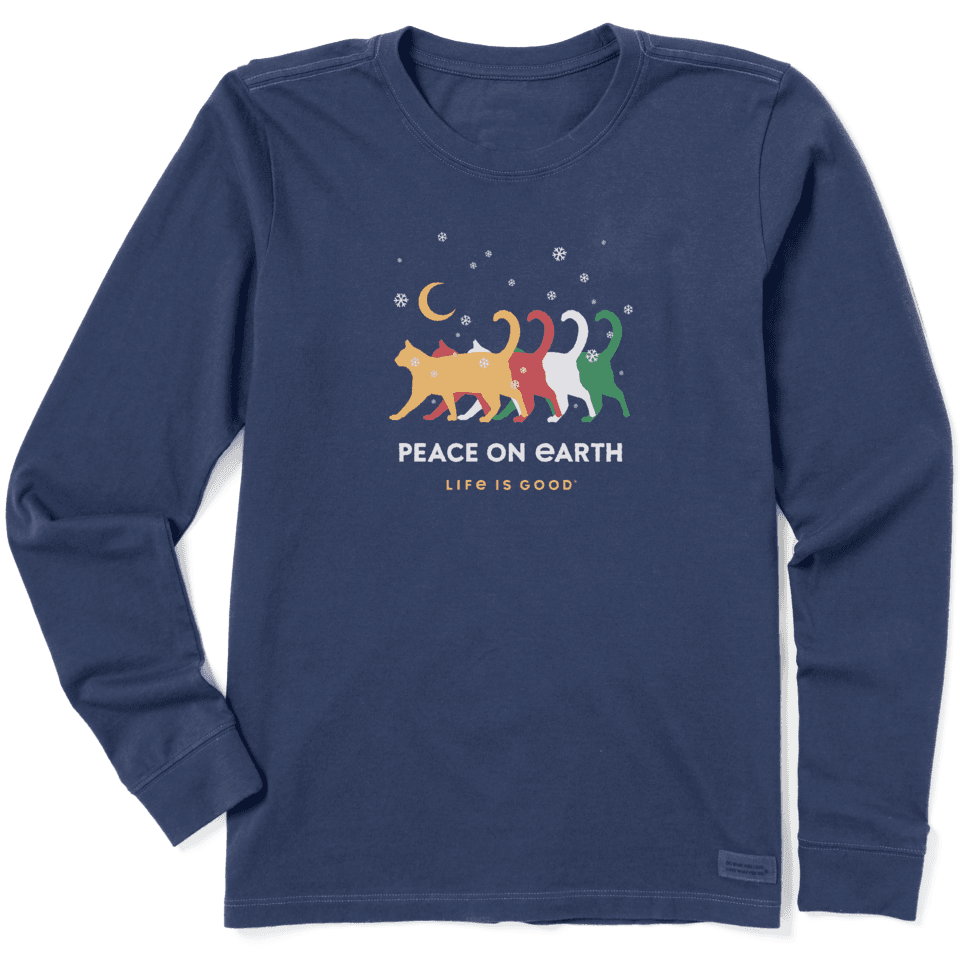 Life is Good Women's Peace on Earth Cats Long Sleeve Crusher Tee XXL Darkest Blue