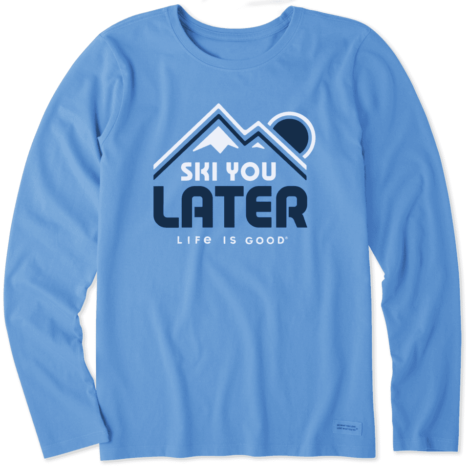 Life is Good Women's Ski You Later Long Sleeve Crusher Tee XL Powder Blue