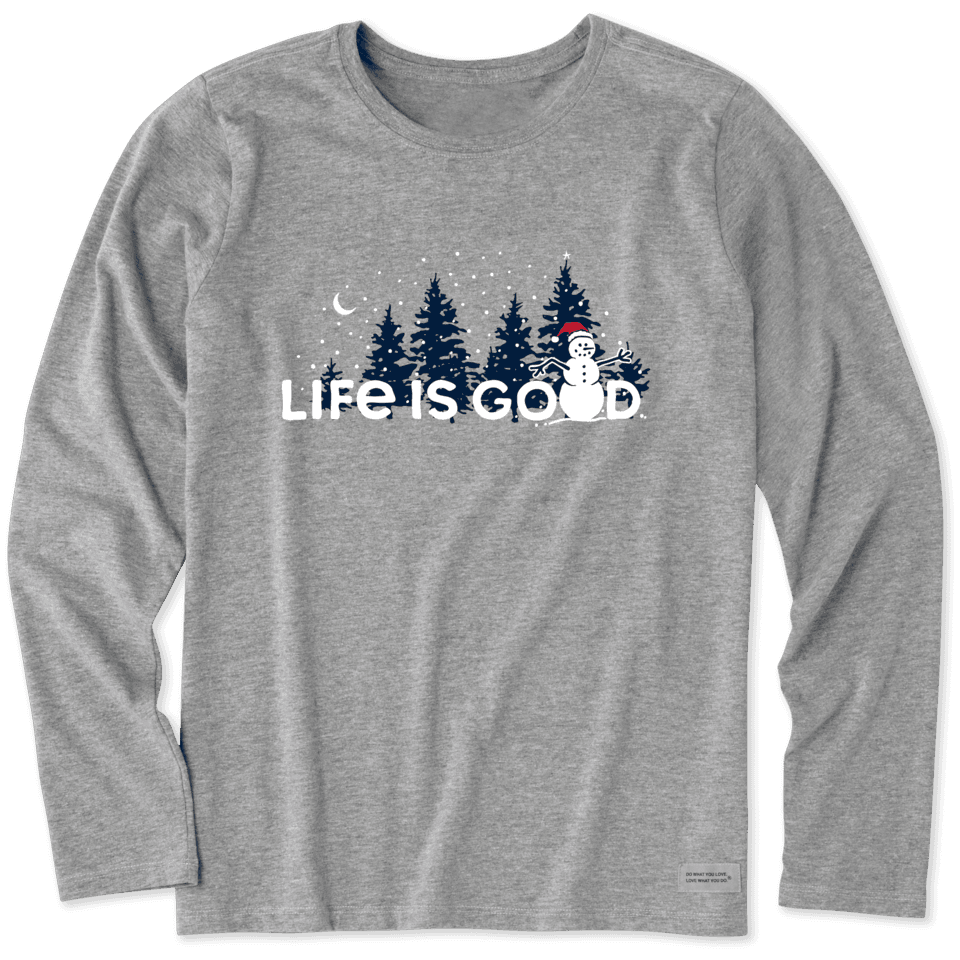 Life is Good Women's Snowman Landscape Long Sleeve Crusher Tee S Heather Gray