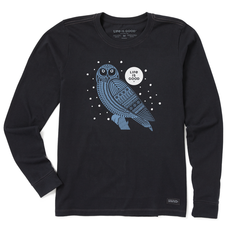 Life is Good Women's Snowy Tribal Owl Long Sleeve Crusher Tee S Jet Black