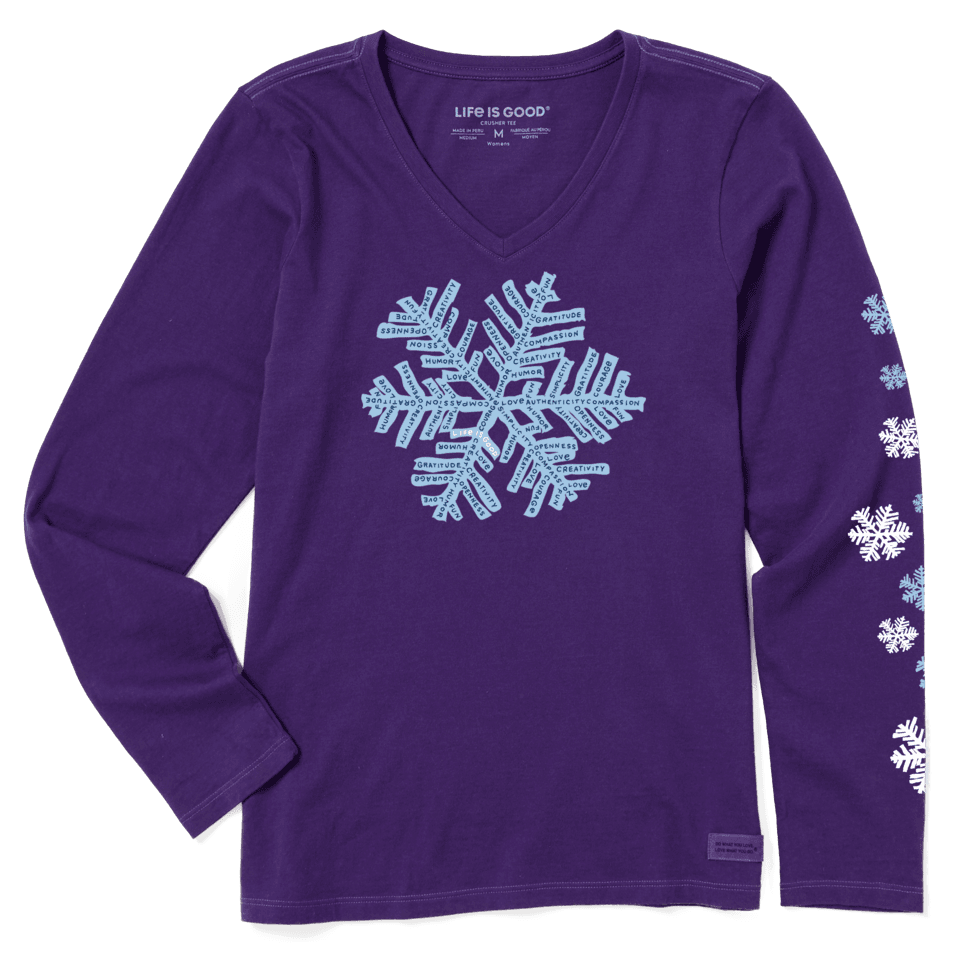 Life is Good Women's Superpower Fluffy Snowflake Long Sleeve Crusher Vee L Deep Purple