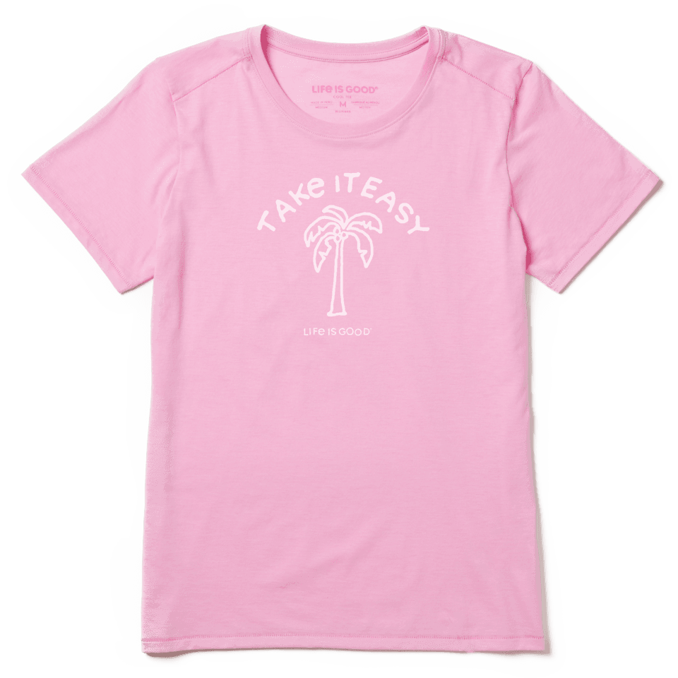 Life is Good Women's Take It Easy Palm Cool Tee XL Happy Pink