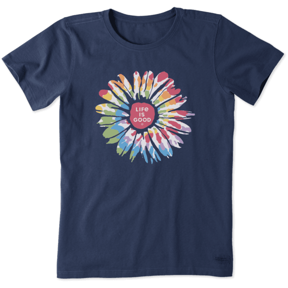 Life is Good Women's Tie Dye Daisy Short Sleeve T-Shirt in Darkest Blue Size Large | 100% Cotton