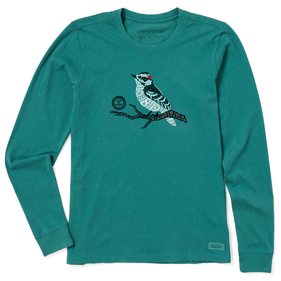 Life is Good Women's Tribal Woodpecker Long Sleeve Crusher Tee L Spruce Green