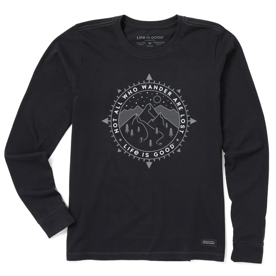 Life is Good Women's Wander Ski Coin Long Sleeve Crusher Tee S Jet Black