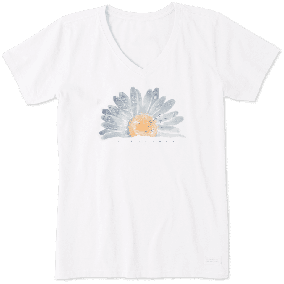 Women's Watercolor Daisy Crusher Vee