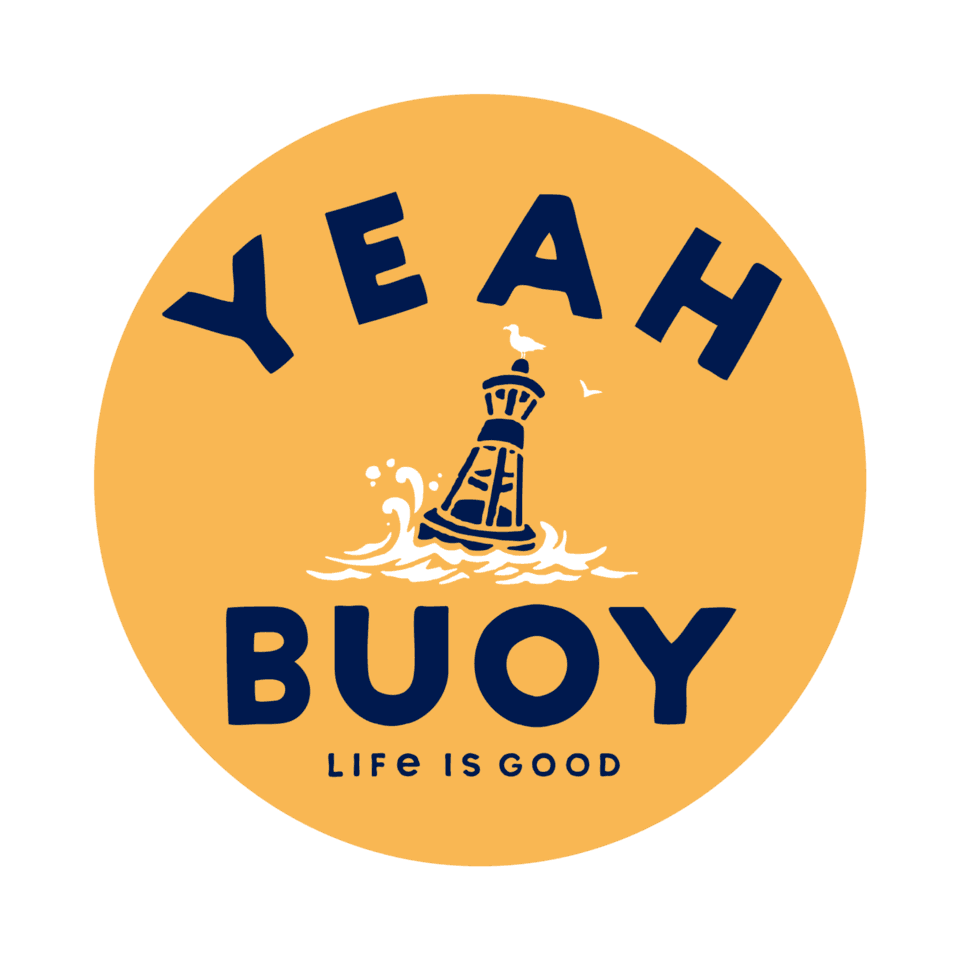 Life is Good Yeah Buoy 4-Circle Sticker OS Baja Yellow