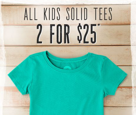 Kids Solid Tees: 2 for $25